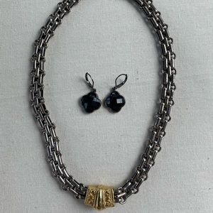 Gunmetal and Goldtone Necklace/Earring Set